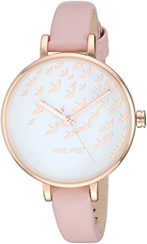 Nine West Women's Rose Gold-Tone and Pink Strap Watch