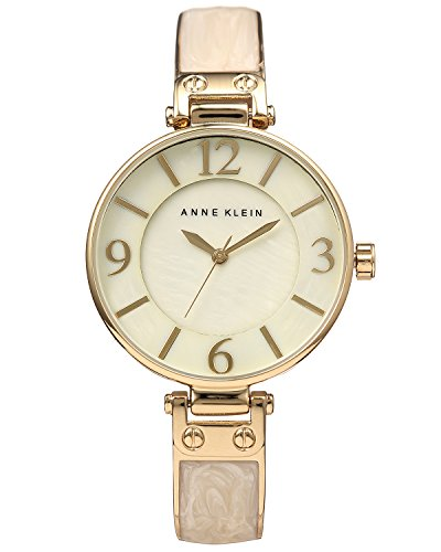 Anne Klein Women's Gold-Tone and Ivory Marbleized Bangle Watch