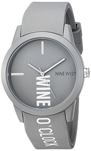 Nine West Women's Quartz Metal and Rubber Dress Watch, Color:Grey
