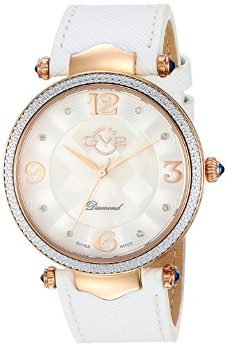 GV2 by Gevril Sassari Womens Diamond Swiss Quartz White Leather Strap Watch