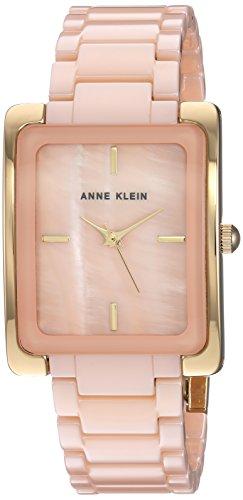 Anne Klein Women's Gold-Tone and Peach Ceramic Bracelet Watch
