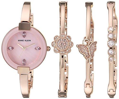 Anne Klein Women's Light Purple Swarovski Accented Rose Gold-Tone Watch
