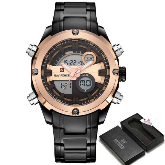Top Brand NAVIFORCE Men Army Military LED Sports Watches