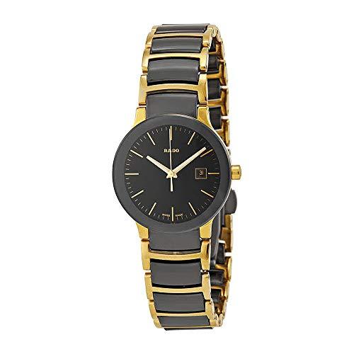 Rado Centrix Black Dial Yellow Gold PVD Black Ceramic Ladies Watch