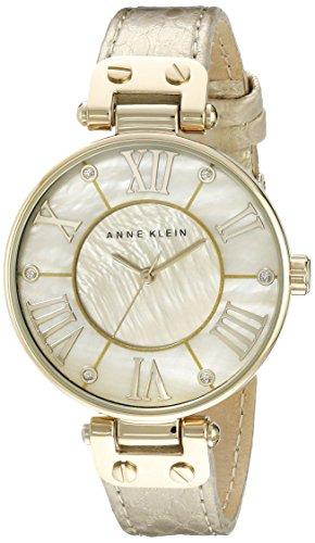 Anne Klein Women's Leather Gold-Tone Snake Print Watch