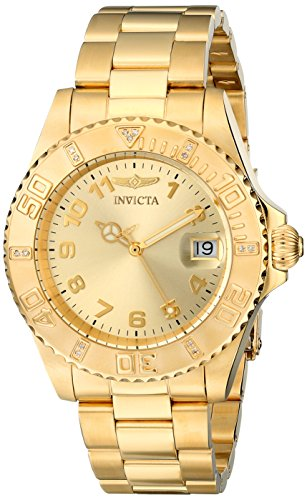 Invicta Women's Pro Diver 18k Yellow Gold Ion-Plated Stainless Steel Watch