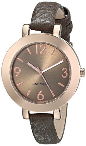 Nine West Women's Round Rose Gold-Tone Brown Strap Watch