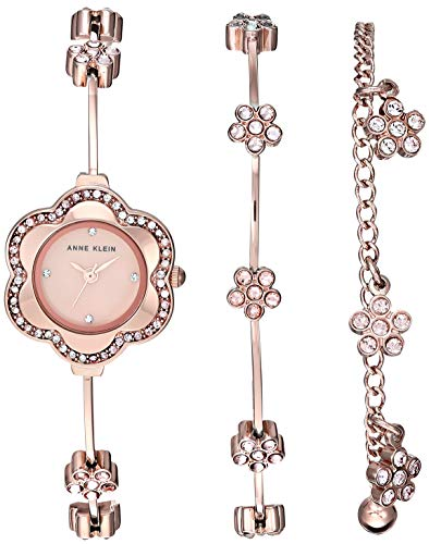 Anne Klein Women's Multi-Colored Crystal Accented Rose Gold-Tone Watch