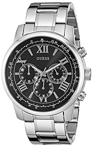 GUESS Men's Dressy Silver-Tone Stainless Steel Multi-Function Watch