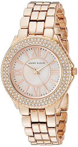 Anne Klein Women's Swarovski Crystal Accented Rose Gold-Tone Bracelet Watch