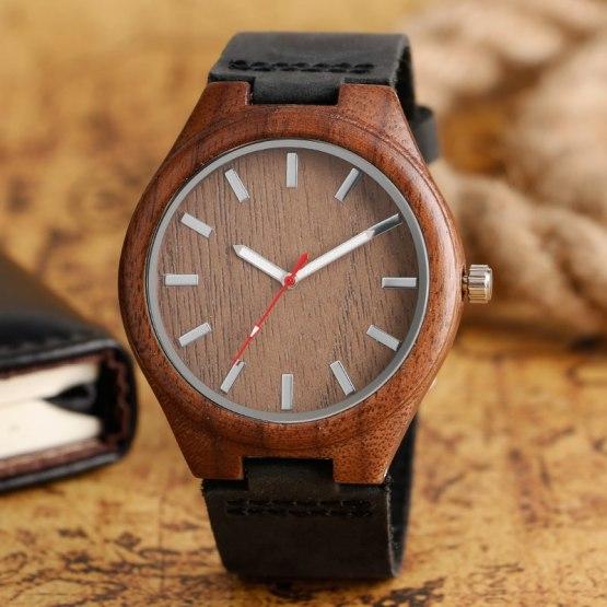 Fashion Quartz Watch Chic Natrual Wooden Wristwatch Black Genuine Leather