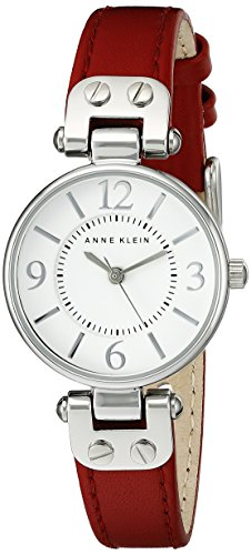 Anne Klein Women's Silver-Tone White Dial and Red Leather Strap Watch