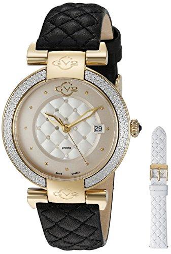 GV2 by Gevril Berletta Womens Diamond Swiss Quartz Black Leather Strap Watch