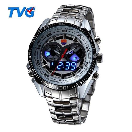 Hot TVG Male Sports Watch Men Full Stainless Steel Waterproof Quartz-watch