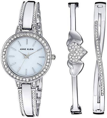 Anne Klein Women's Swarovski Crystal Accented Silver-Tone Watch