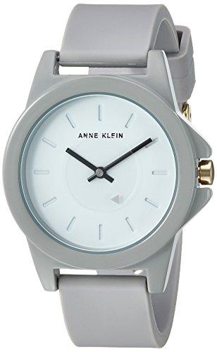 Anne Klein Women's Quartz Metal and Silicone Dress Watch, Color:Grey