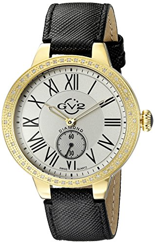 GV2 by Gevril Astor Womens Diamond Swiss Quartz Black Leather Strap Watch
