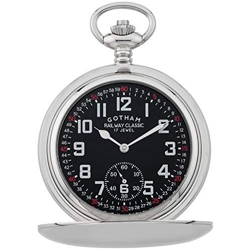 Gotham Men's Silver-Tone Railroad Mechanical Pocket Watch