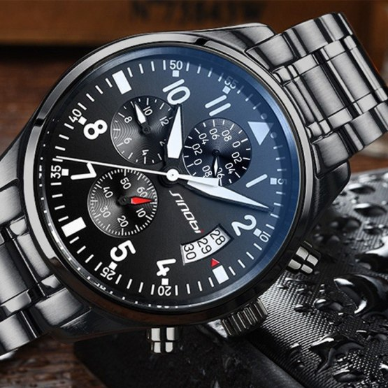 SINOBI Watches Men Waterproof Stainless Steel Luxury Pilot Wrist Watches