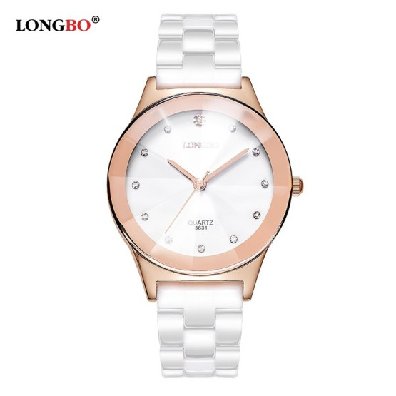 Luxury White Ceramic Water Resistant Classic Easy Read Sports Women Watch