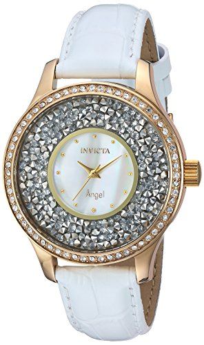 Invicta Women's Angel Stainless Steel Quartz Watch with Leather Calfskin Strap