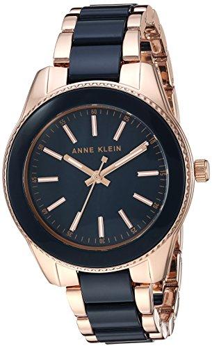 Anne Klein Women's Rose Gold-Tone and Navy Blue Resin Bracelet Watch