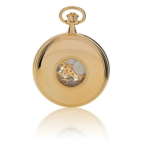 Oxford Half Hunter Pocket Watch with Arabic Numerals Skeleton Dial - Gold Oxford Half Hunter Pocket Watch with Arabic Numerals Skeleton Dial - Gold