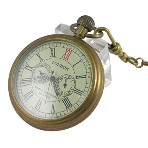 VIGOROSO Men's Vintage Full Copper Hand-Wind Mechanical Pocket Watch