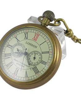 VIGOROSO Men's Vintage Full Copper Hand-Wind Mechanical Pocket Watch