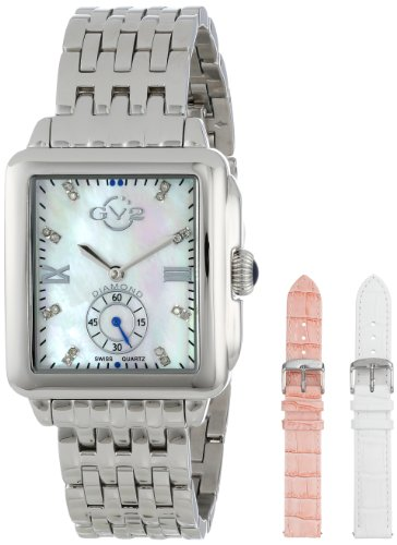 """GV2 by Gevril Women's """"Bari"""" Diamond-Accented Stainless Steel Bracelet Watch"""