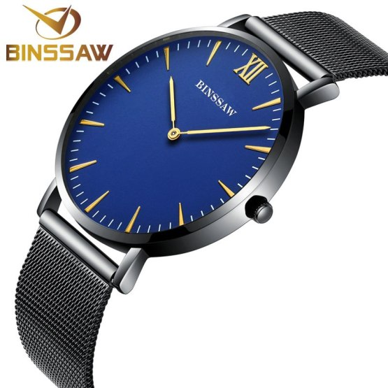 BINSSAW 2017 new ultra-thin men stainless steel luxury quartz brand watch