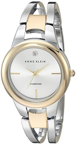 Anne Klein Women's Diamond-Accented Dial Two-Tone Open Bangle Watch