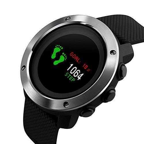 Smart Watch Sports Waterproof Compass Pedometer Digital Watches Smart Watch Sports Waterproof Compass Pedometer Digital Colorful Screen LED Display Electronic Watches (Black)
