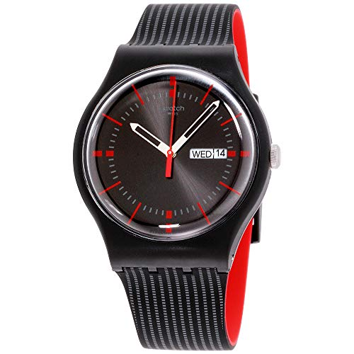 Swatch Unisex Originals Black Watch with Patterned Band