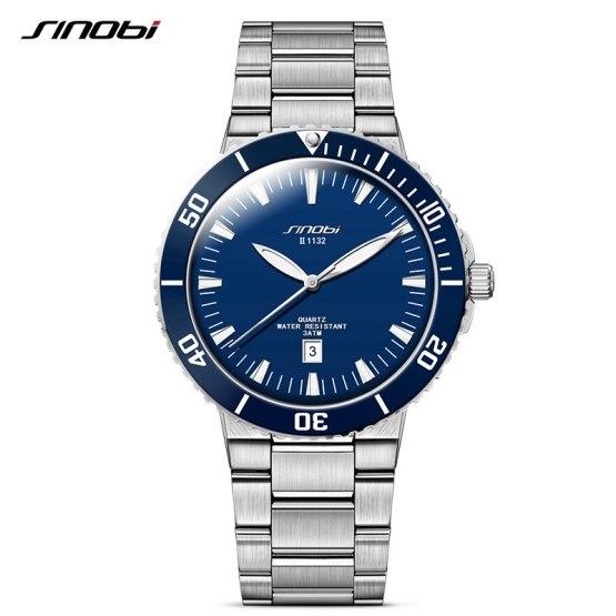 SINOBI Men Wrist Watch Top Luxury Brand 3Bar Waterproof Steel Watchband