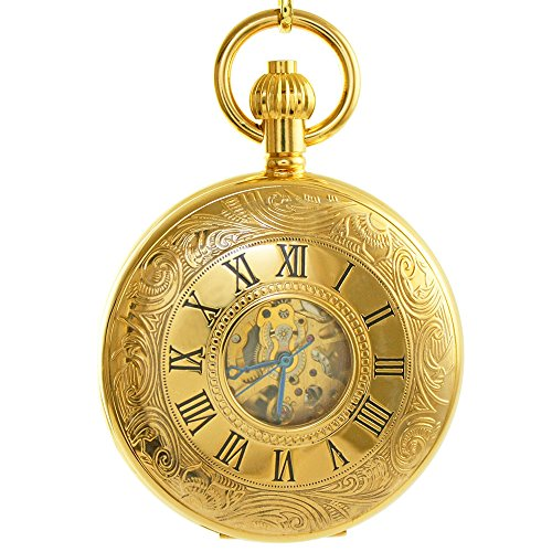 OGLE Vintage Roman Gold Copper Double Open Cover Mechanical Pocket Watch Rose Gold Dial