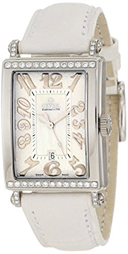 Gevril Women's White Mother-of-Pearl Genuine Alligator Strap Watch