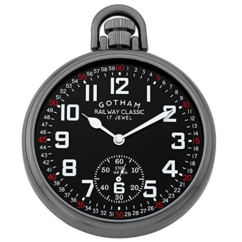 Gotham Men's Gun-Plated Stainless Steel Mechanical Pocket Watch