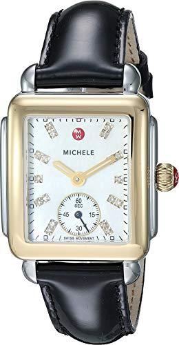 Michele Women's Deco Mid Two-Tone, Diamond Dial On Black Patent Watch