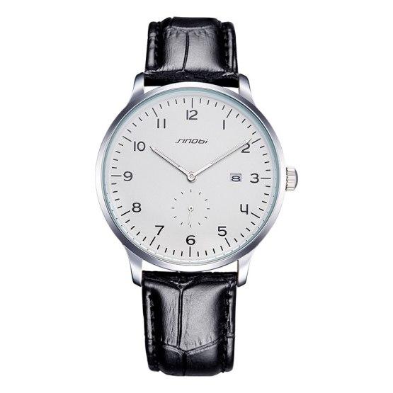 SINOBI Causal Business Men Wrist Watches Leather Watchband
