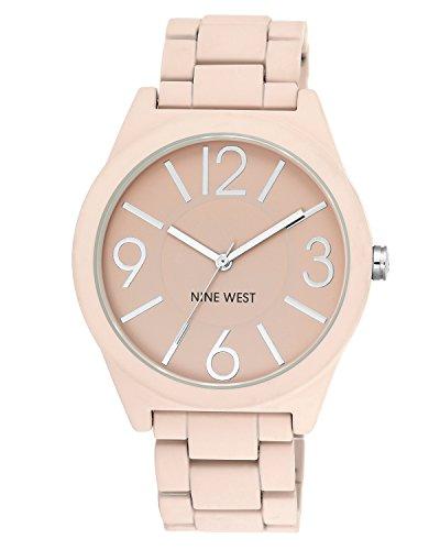 Nine West Women's Matte Pink Rubberized Bracelet Watch
