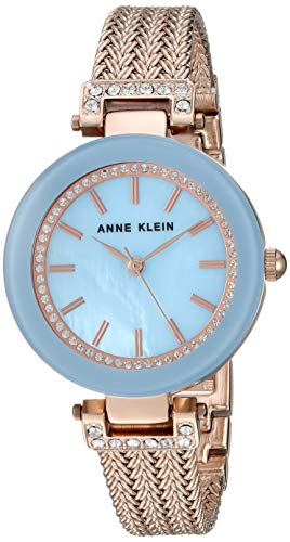 Anne Klein Women's Swarovski Accented Rose Gold-Tone Mesh Bracelet Watch