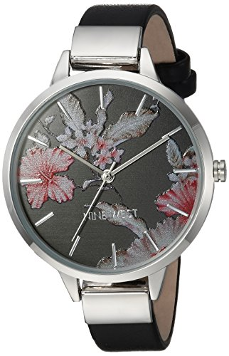 Nine West Women's Silver-Tone and Black Strap Watch