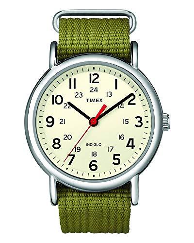 Timex Unisex Weekender Olive Nylon Slip-Thru Strap Watch