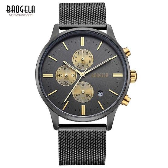 Baogela Mens Chronograph Lulminous hands Quartz Wrist Watches