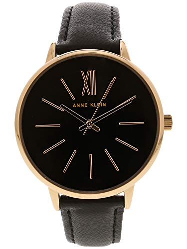 Anne Klein Women's Rose Gold-Tone and Black Leather Strap Watch