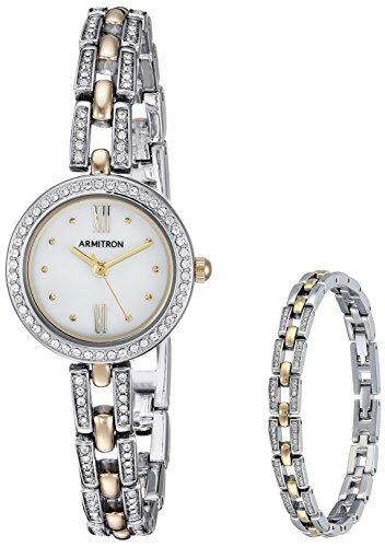 Armitron Women's Swarovski Crystal Accented Two-Tone Watch and Bracelet Set