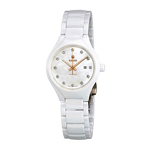Rado True Automatic Mother of Pearl Diamond Dial Ladies Ceramic Watch