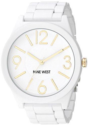 Nine West Women's Matte White Rubberized Bracelet Watch