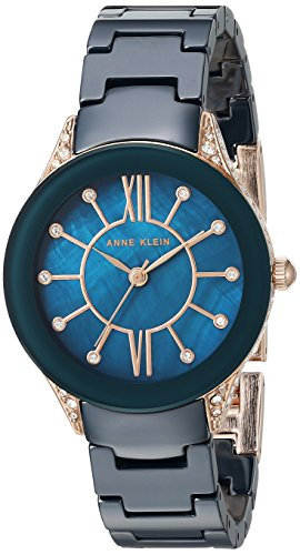 Anne Klein Women's Swarovski Crystal Accented Navy Blue Ceramic Bracelet Watch